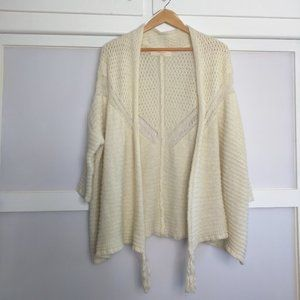 Zara Knit Cream Cardigan Knit Medium Gold Sparkle